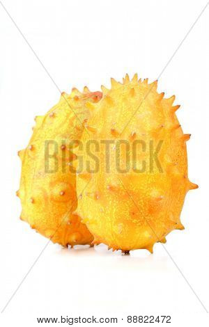 Close up of kiwano on white background