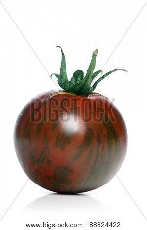 Studio shot of black tomato on white background