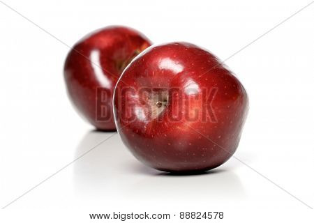 Close up of two red apples