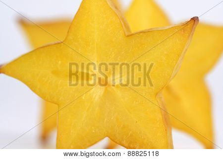 Close-up of carambola - studio shot