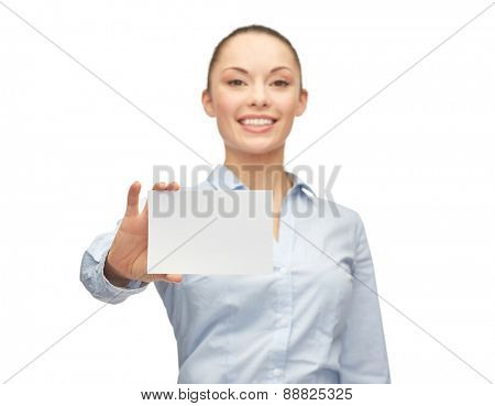 business, people and advertisement concept - smiling businesswoman showing white blank card