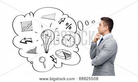 business, people, management and planning concept - thinking businessman in suit with text bubble and doodles making decision