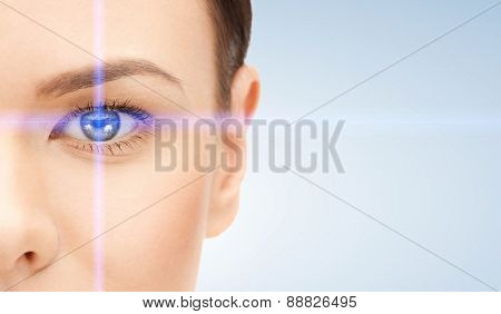 picture of beautiful woman pointing to eye