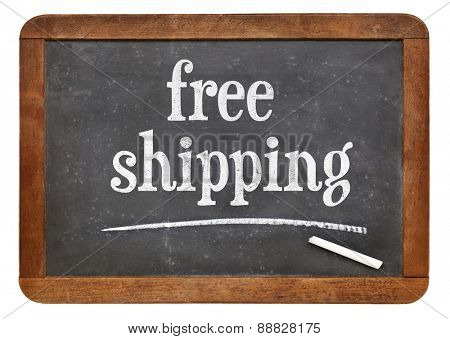 free shipping - marketing concept - text on a vintage slate blackboard