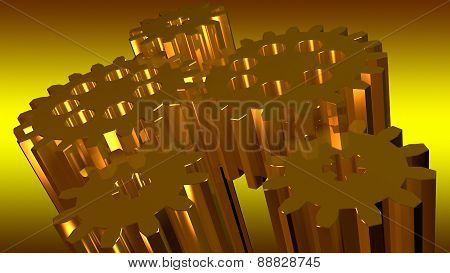 Composition Of Several Linked In Rotation Toothed Gold Gears