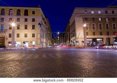 Street Of Rome At Night