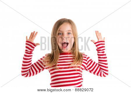Blond indented kid girl open mounth and hands happy expression gesture on white