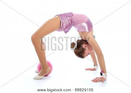 Kid girl ball rhythmic gymnastics exercise on white background