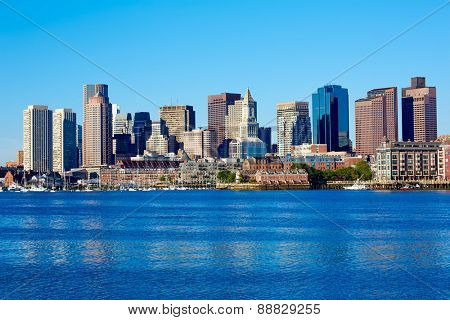 Boston Massachusetts skyline from Harbor in USA