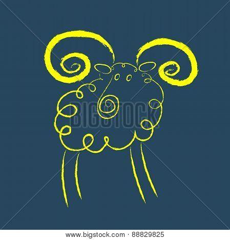 Scribble Style Yellow Ram