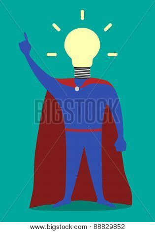 Hero With Light Bulb Instead Of Head, Insight