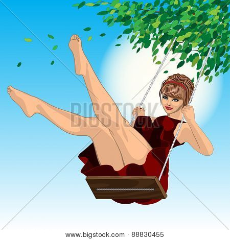beautiful sexy girl in red dress on a swing and a blue sky