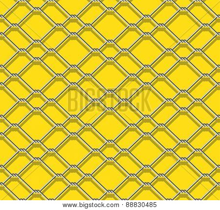 seamless metal chain link fence on yellow background