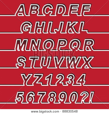 One Line Font, latin alphabet letters and arabic numbers