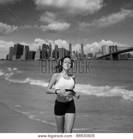 Brunette girl running in New York Brooklyn bridge photo mount