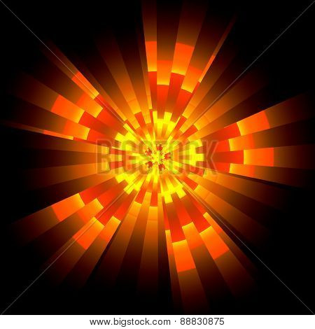 Fiery Glowing Shape In Cyberspace