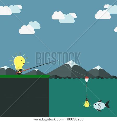 Lightbulb Character Fishing