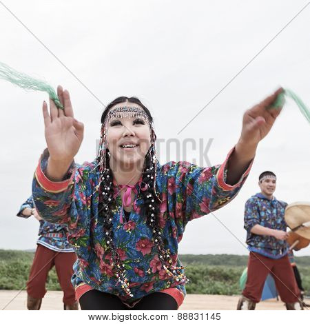Emotional woman dance - dancer Koryak Folk Dance Ensemble Angt. Kamchatka, Russia