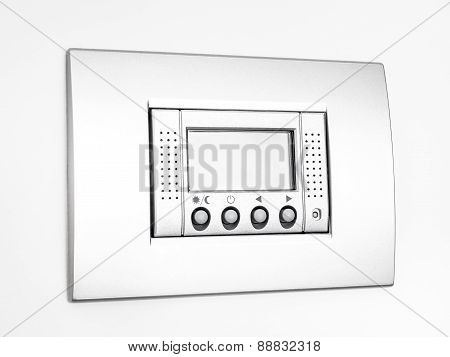 Digital empty Thermostat on white background