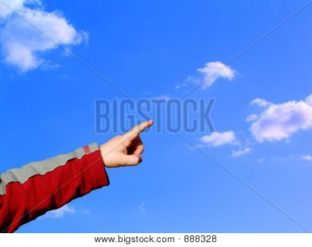 Boy Pointing Sky