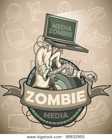 Media zombie with a laptop instead of a head. Label