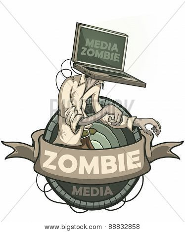 Media zombie with a laptop instead of a head. Label isolated