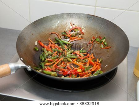 Roasting Vegetables On A Frying Pan