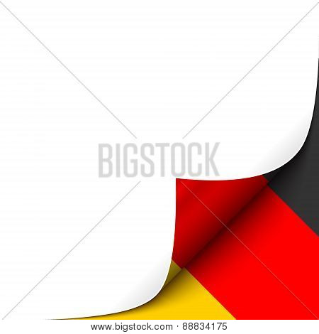 Curled Paper Corner with Germany Flag Background.