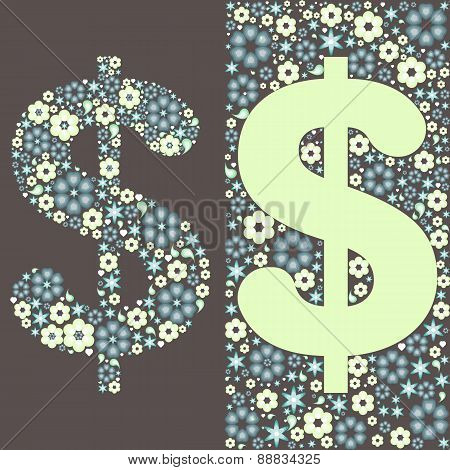 Illustration Of Dollar Floral Pattern