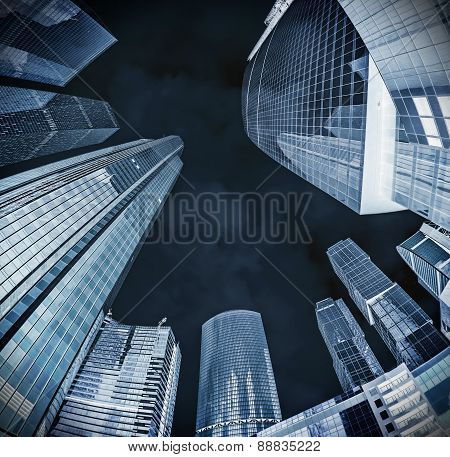Modern Glass Silhouettes Of Skyscrapers