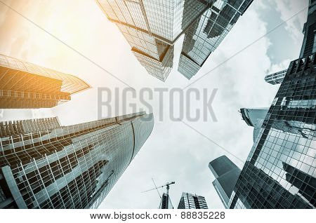 Futuristic Landscape Of Silhouettes Of Skyscrapers In The City