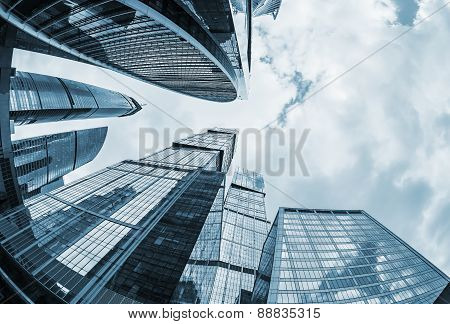 Futuristic Modern Skyscrapers Of Glass And Metal