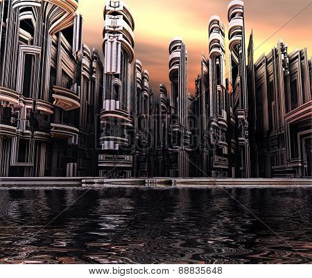 3D render of virtual city landscape