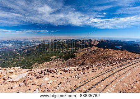 Pikes Peak Cog Railway From Top Of Pike Peak, Colorado Springs, Co