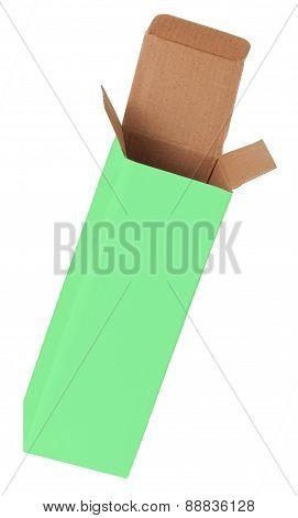 Green Cardboard Box On A White Background
