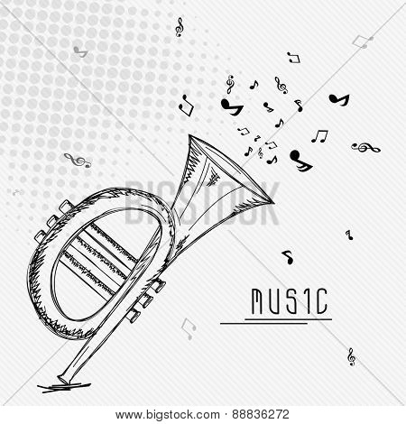 Black musical notes coming out from trumpet on vintage abstract background for Music concept.