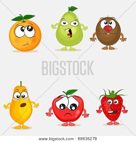 Funny cartoons of colorful fruit characters with different facial expression on grey background.