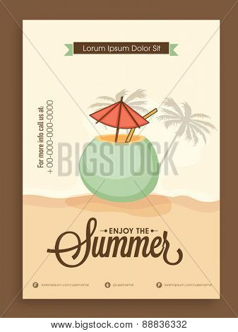 Stylish vintage Summer Season template, banner or flyer design.
