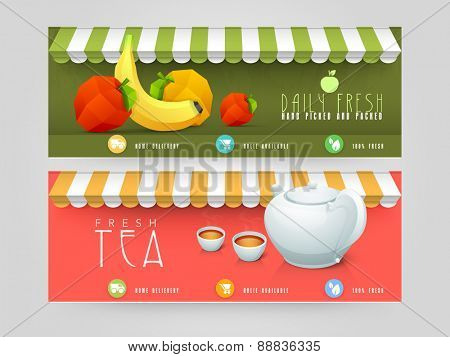 Website header or banner design for restaurant and cafe shop.