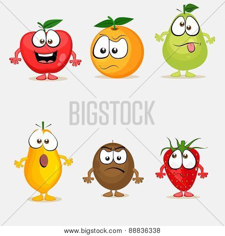 Funny cartoon characters of colorful fruits with different facial expressions on grey background.