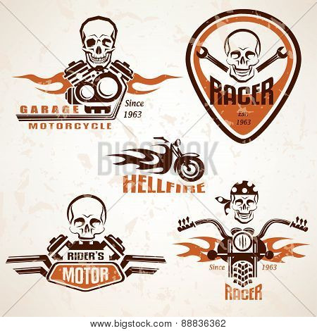 Set Of Vintage Motorcycle Labels, Badges And Design Elements With Skull In Grunge Style