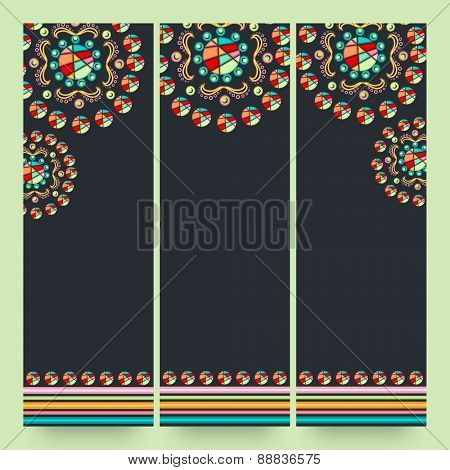 Floral design decorated website banner set with space for your message.