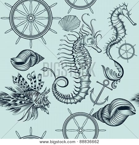 Vintage Seamless Pattern With Sea Animals
