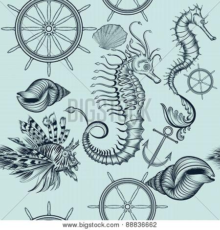 Vintage Seamless Pattern With Sea Animals