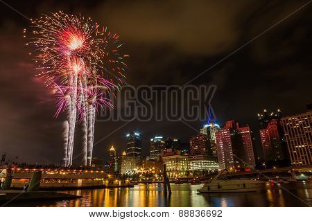 Pittsburgh, Pa River View Skyline At Night With Colorful Firework