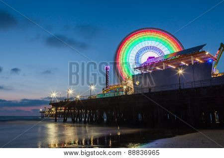 Santa Monica Pier After Sunset, Santa Monica, California, Usa