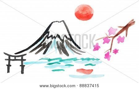 Mount Fuji And Sakura In Japan, Vector