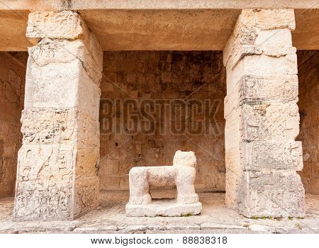 Ancient Maya Archaeological Site  In Chichen Itza Temple, Mexico