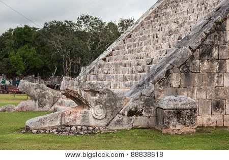 Serpent Head Stairway In El Castillo Pyramid, Chichen Itza, Mexico