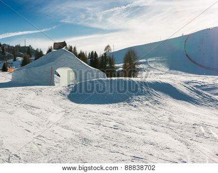 Frozen Tunnel, Snowpark In Dolomites Mountains